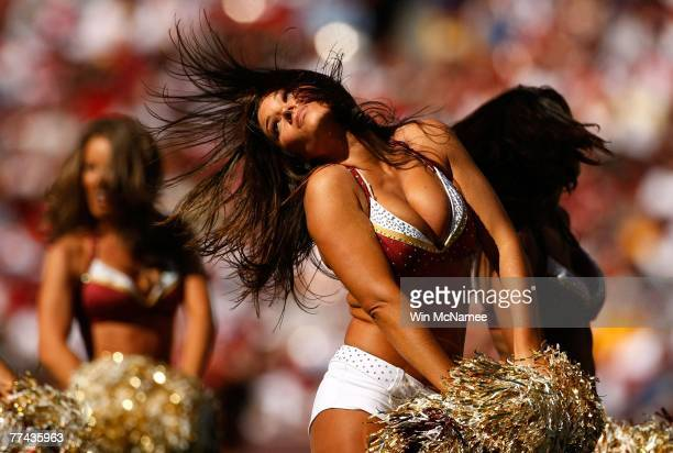 Washington Redskins cheerleaders perform during a timeout in a game against the Arizona Cardinals at FedEx Field October 21 2007 in Landover Maryland...