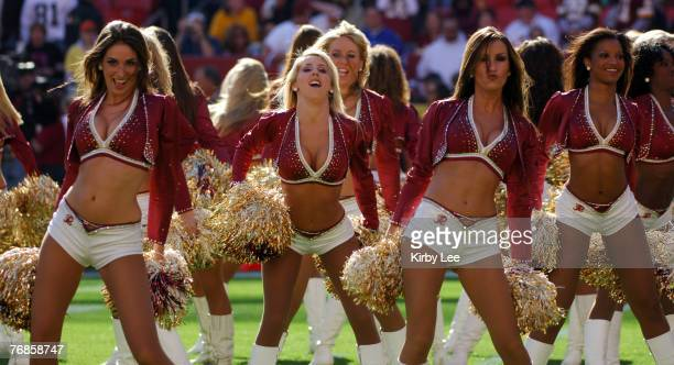 Washington Redskins cheerleaders perform during game against the Oakland Raiders at FedExField in Landover Md on Sunday November 20 2005