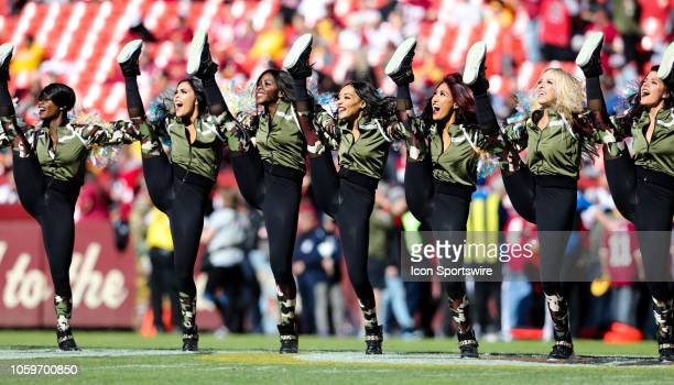 Washington Redskins cheerleaders perform prior to the game between the Atlanta Falcons and the Washington Redskins on November 04 at FedEx Field in...