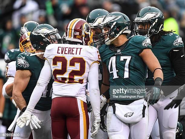 PHILADELPHIA PA DECEMBER Washington Redskins cornerback Deshazor Everett is confronted by the Philadelphia Eagles after hitting Philadelphia Eagles...
