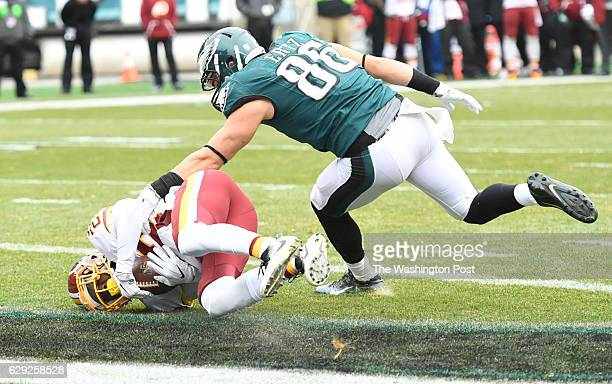 Washington Redskins cornerback Deshazor Everett steps in front of Philadelphia Eagles tight end Zach Ertz for an interception in the end zone in...