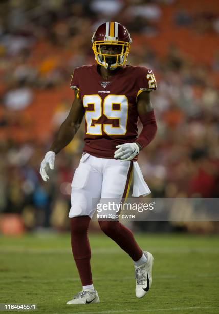 Washington Redskins cornerback D.J. White during a NFL preseason game between the Cincinnati Bengals and Washington Redskins on August 15 at FedEx...