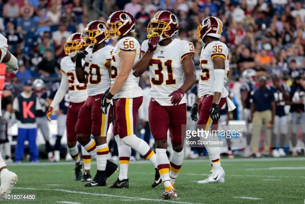 Washington Redskins cornerback Fabian Moreau during a preseason NFL game between the New England Patriots and the Washington Redskins on August 9 at...
