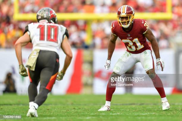 Washington Redskins cornerback Fabian Moreau during the second half of an NFL game between the Washington Redskins and the Tampa Bay Bucs on November...