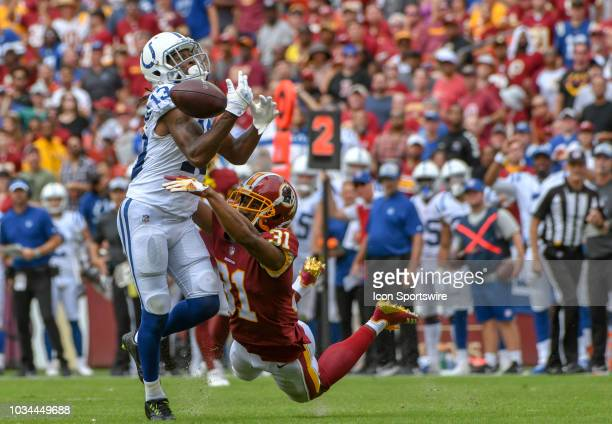 Washington Redskins cornerback Fabian Moreau is called for pass interference on a pass intended for Indianapolis Colts wide receiver TY Hilton in the...