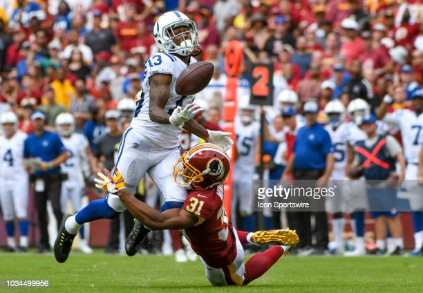 Washington Redskins cornerback Fabian Moreau is called for pass interference on a pass intended for Indianapolis Colts wide receiver TY Hilton on...