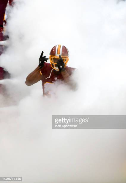 Washington Redskins cornerback Fabian Moreau takes the field prior to the game on September 23 at FedEx Field in Landover MD The Washington Redskins...