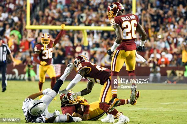 Washington Redskins cornerback Kendall Fuller intercepts a pass intended for Oakland Raiders wide receiver Seth Roberts on September 24 at FedEx...