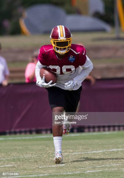 Washington Redskins cornerback Kendall Fuller rushes upfield during Redskins training camp practice on August 6 2017 at Bon Secours Training Center...