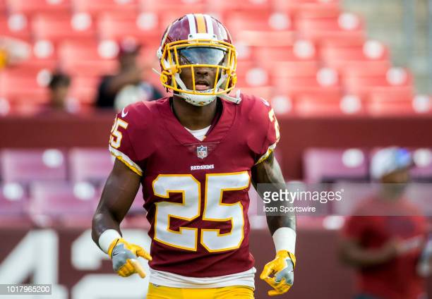 Washington Redskins defensive back Greg Stroman before a NFL preseason game between the Washington Redskins and the New York Jets on August 16 at...