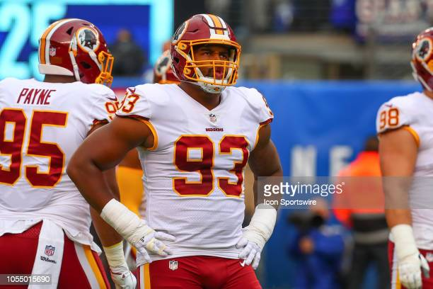 Washington Redskins defensive end Jonathan Allen during the National Football League game between the Washington Redskins and the New York Giants on...