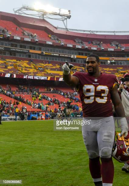 Washington Redskins defensive end Jonathan Allen gesture as he walks off the field following the game on September 23 at FedEx Field in Landover MD...