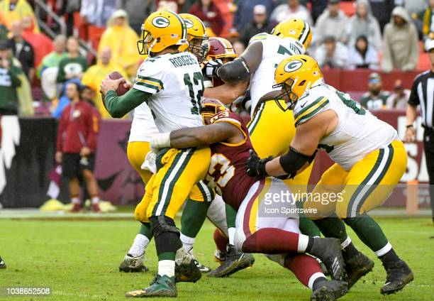 Washington Redskins defensive end Jonathan Allen sacks Green Bay Packers quarterback Aaron Rodgers in the fourth quarter on September 23 at FedEx...
