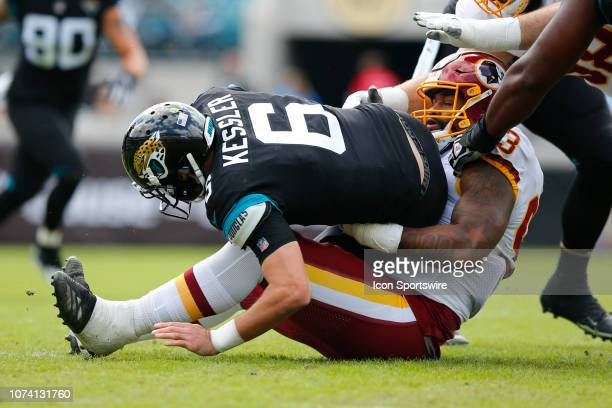 Washington Redskins Defensive End Jonathan Allen sacks Jacksonville Jaguars Quarterback Cody Kessler during the game between the Washington Redskins...