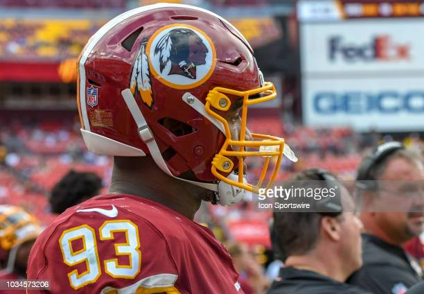 Washington Redskins defensive end Jonathan Allen stands on the sidelines on September 16 at FedEx Field in Landover MD The Indianapolis Colts...