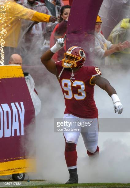 Washington Redskins defensive end Jonathan Allen takes the field prior to the game on September 23 at FedEx Field in Landover MD The Washington...