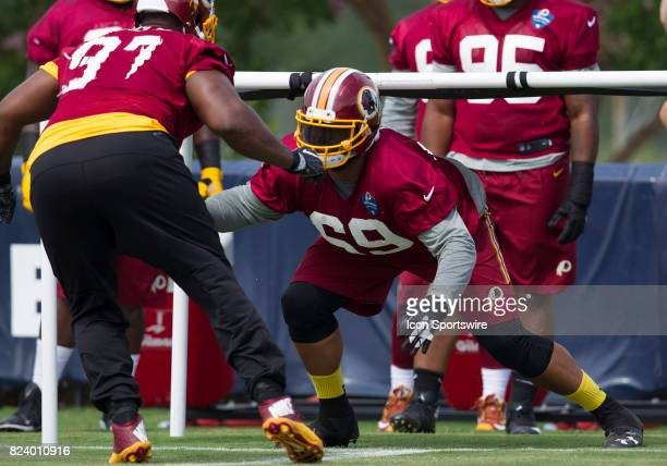 Washington Redskins defensive lineman AJ Francis participates in position drills during the Redskins training camp afternoon practice on July 27 2017...