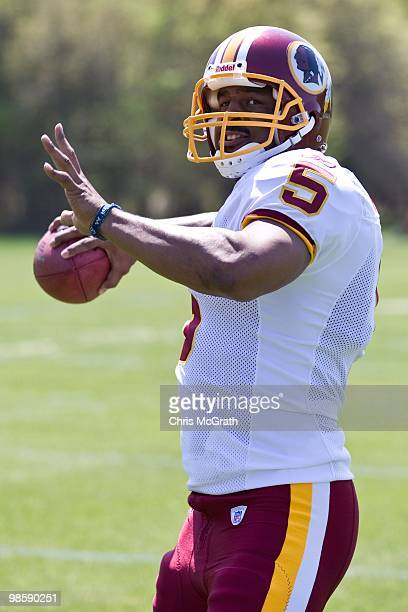 Washington Redskins Donovan McNabb works out at the Washington Redskins training facility on April 15 2010 in Ashburn Virginia