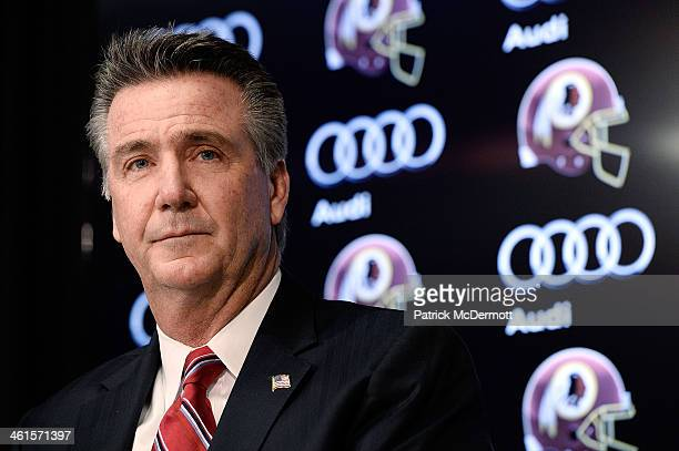 Washington Redskins Executive Vice President and General Manager Bruce Allen speaks as Jay Gruden is introduced as the new head coach of the...