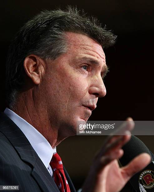 Washington Redskins General Manager Bruce Allen speaks during a press conference on the dismissal of Head Coach Jim Zorn at Redskins Park January 4...