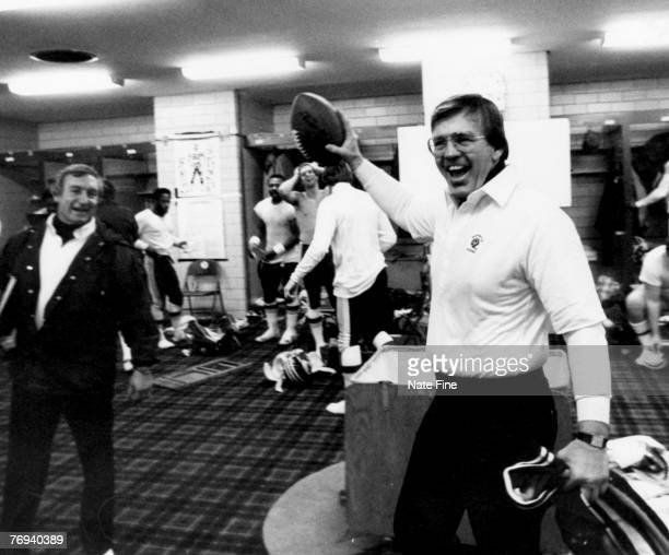 Washington Redskins Hall of Fame head coach Joe Gibbs celebrates his team's victory in the NFC FirstRound Playoff a 317 victory over the Detroit...