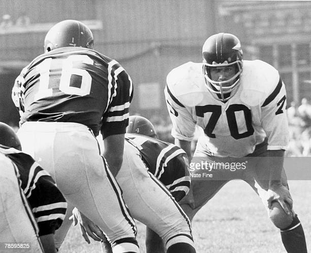 Washington Redskins Hall of Fame linebacker Sam Huff during a 3524 loss to the Philadelphia Eagles on September 17 1967 at Franklin Field in...
