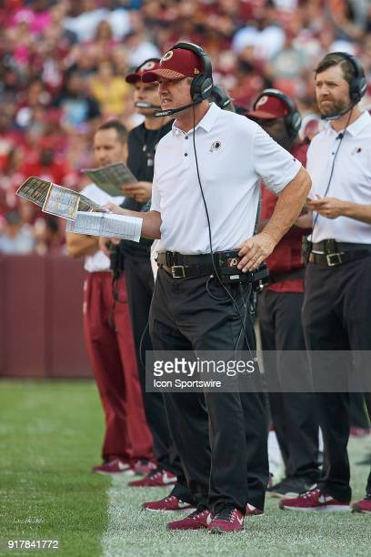 Washington Redskins head coach Jay Gruden looks on during a NFL football game between the San Francisco 49ers and the Washington Redskins on October...