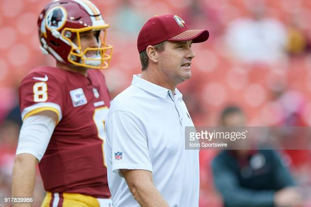 Washington Redskins head coach Jay Gruden looks on prior to the start of the NFL football game between the San Francisco 49ers and the Washington...