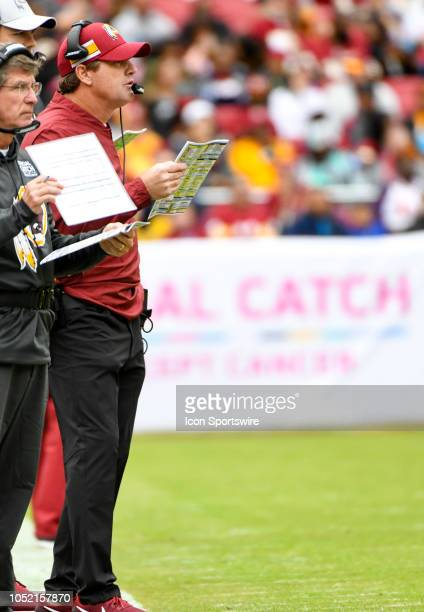 Washington Redskins head coach Jay Gruden stands on the sidelines on October 14 at FedEx Field in Landover MD The Washington Redskins defeated the...