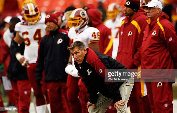Washington Redskins head coach Jim Zorn watches from the sideline as his team loses to the Kansas Chiefs October 18, 2009 at FedEx Field in Landover,...