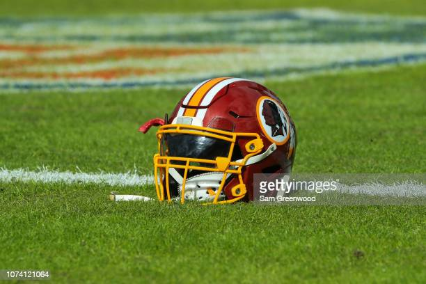 Washington Redskins helmet is seen before the game against the Jacksonville Jaguars at TIAA Bank Field on December 16 2018 in Jacksonville Florida