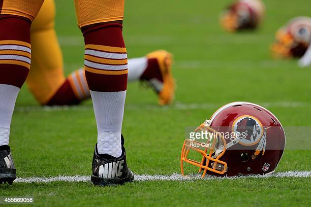 Washington Redskins helmet is seen on the field before the game against the Philadelphia Eagles at Lincoln Financial Field on September 21 2014 in...