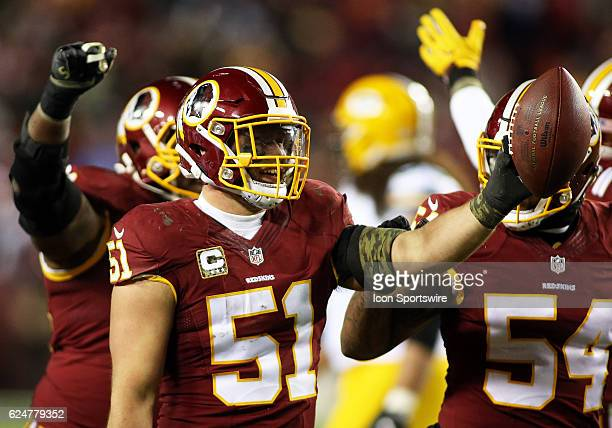 Washington Redskins inside linebacker Will Compton celebrates after recovering a fumble in the second half during a match between the Washington...