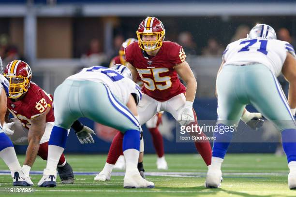 Washington Redskins Linebacker Cole Holcomb waits on the snap during the NFC East game between the Dallas Cowboys and Washington Redskins on December...
