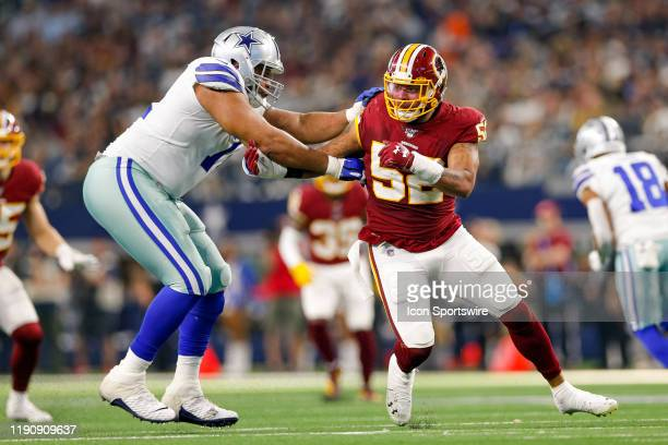 Washington Redskins Linebacker Ryan Anderson is blocked by Dallas Cowboys Offensive Tackle La'el Collins during the NFC East game between the Dallas...