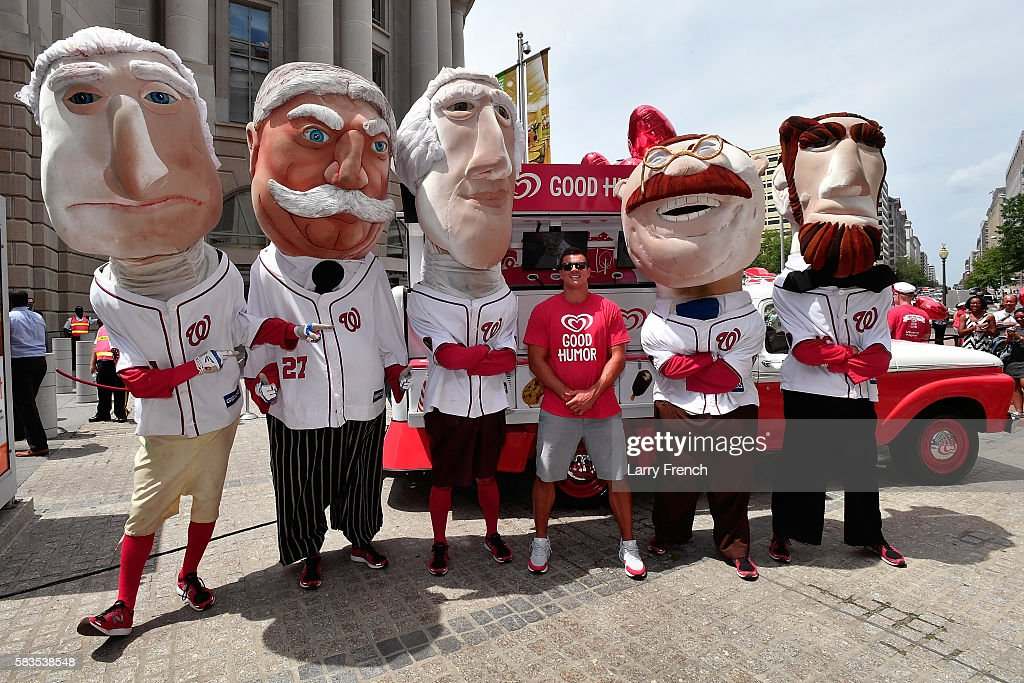 Washington Redskins Linebacker Ryan Kerrigan and the Washington Nationals Racing Presidents help launch the Washingtn D.C. leg of the Good Humor Welcome to Joyhood Tour at the Ronald Reagan Building on July 26, 2016 in Washington, DC.