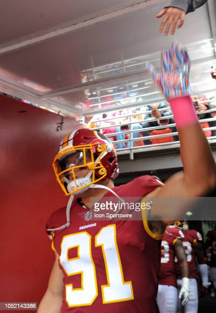Washington Redskins linebacker Ryan Kerrigan comes out of the tunnel for the game against the Carolina Panthers on October 14 at FedEx Field in...
