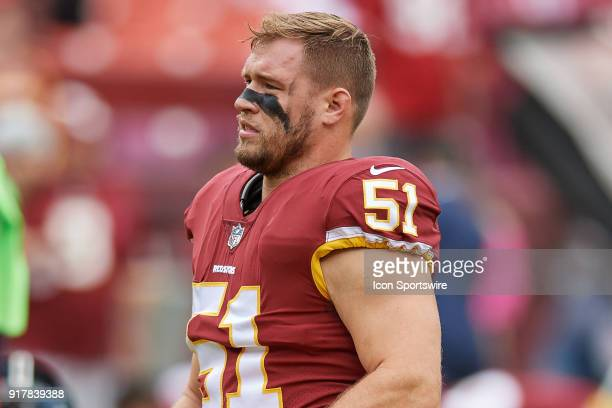 Washington Redskins linebacker Will Compton looks on during a NFL football game between the San Francisco 49ers and the Washington Redskins on...