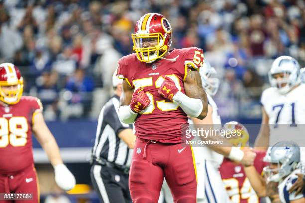 Washington Redskins linebacker Zach Brown celebrates after a sack during the game between the Dallas Cowboys and the Washington Redskins on November...