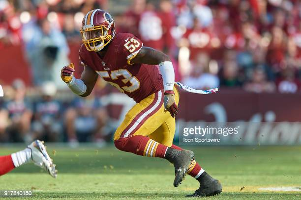 Washington Redskins linebacker Zach Brown looks to battle in action during a NFL football game between the San Francisco 49ers and the Washington...