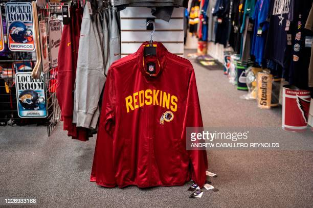 Washington Redskins merchandise is seen for sale at a sports store in Fairfax Virginia on July 13 2020 The Washington Redskins confirmed on July 13...
