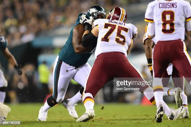 Washington Redskins offensive guard Brandon Scherff blocksPhiladelphia Eagles defensive tackle Fletcher Cox during a NFL football game between the...