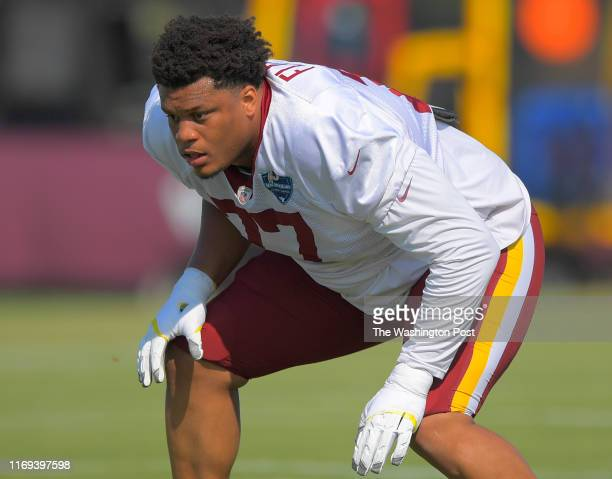 Washington Redskins offensive tackle Ereck Flowers during day 4 of summer training camp in Richmond, VA on July 28, 2019 .