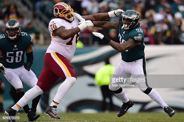 Washington Redskins Offensive Tackle Morgan Moses blocks Philadelphia Eagles Defensive End Marcus Smith during a National Football League game...