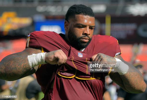 Washington Redskins offensive tackle Trent Williams walks off the field after a loss to the Indianapolis Colts on September 16 in Landover MD
