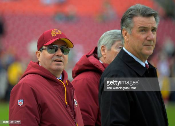 Washington Redskins owner Dan Snyder left with team president Bruce Allen right before a game between the Washington Redskins and the Philadelphia...