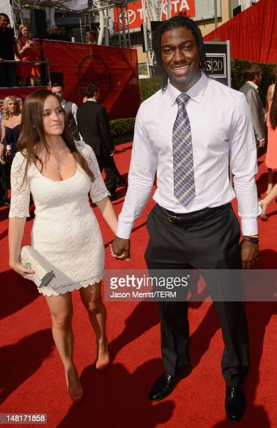Washington Redskins player Robert Griffin III with Rebecca Liddicoat arrive at the 2012 ESPY Awards at Nokia Theatre LA Live on July 11 2012 in Los...