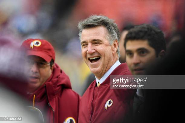 Washington Redskins president Bruce Allen has a laugh prior to their loss to the New York Giants at FedEx Field