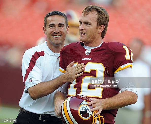 Washington Redskins quarterback coach Matt LaFleur left and Washington Redskins quarterback John Beck before the game at Fed Ex Field on Thursday...