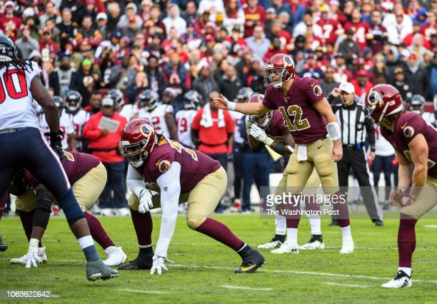 Washington Redskins quarterback Colt McCoy leads the offense after an injury to Washington Redskins quarterback Alex Smith in a game against the...